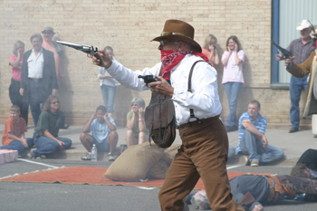 Phil Jannes played one of the bank robbers in last years re-enactment at the corner of Sixth and Main in downtown Meeker. This years bank robbery re-enactment will be held at 1:30 p.m. Saturday in the same location.