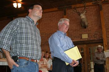Senate President Brandon Shaffer, left, and Senate Majority Leader John Morse took turns talking — and listening — during last week's listening tour stop in Meeker.