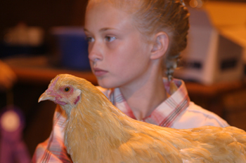 Antoinette Dorris of Rangely took part in the poultry competition at the Rio Blanco County Fair.