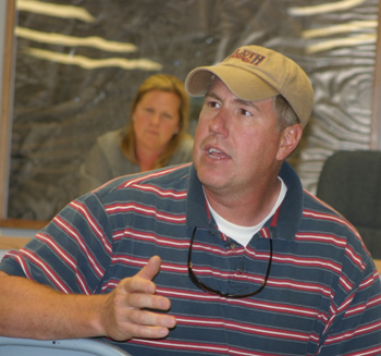 With Meeker Mayor Mandi Etheridge listening, Sulphur Creek resident Bob Lange makes a point during last week's meeting.