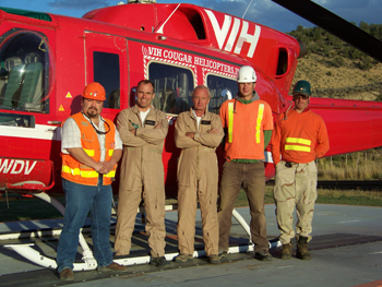 Pictured from left, Arcadio Trevino; pilots Garry Thomson and Danny Knopf; and medical personnel Michael Blancher and Dave Pollari. Not pictured, Dave Bragg and Eric Harmuth.