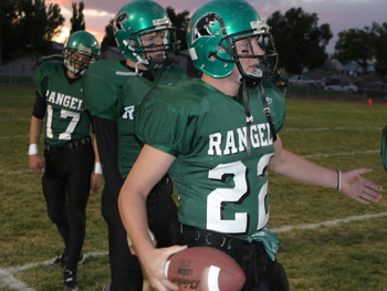 Rangely's Keane Raley and his Panther teammates warm up before Friday's homecoming game against league opponent Hayden. Also pictured is No. 17, Kody Denny.