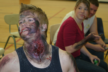 "Among the ""injured patients"" in a Nov. 15 disaster drill at Meeker High School — sponsored by ExxonMobil — were from left Justin Hardy, Kirstie Smith and Caleb Dodds."