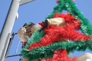 Bryan Mackey, an employee with the town of Rangely, was involved in putting up decorations for Christmas on Nov. 19.