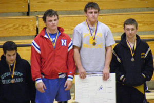 "Meeker sophomore Collin Cochran, far right, pinned two opponents and finished third at 189 pounds in a tournament in Kremmling. Teammates Cody Pfau and Caleb Dodds placed second for the Cowboys. ""Everyone is showing improvement,"" coach Joe Gutierrez said."