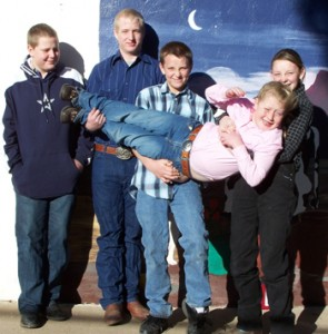 Members of the Rangely livestock judging team, from left: Layne Mecham, Landon Mecham, Evan Urie and Cheyenne Steele-Mackay, with Kaylee Mecham in front.