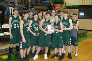 Members of the Lady Panthers girls' basketball team were recognized for their second-place finish in the district tournament last weekend, which was hosted by Rangely.