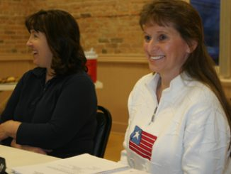 Lois Sampson, left, and Jeannie Durham spoke at the first Tea Party meeting.