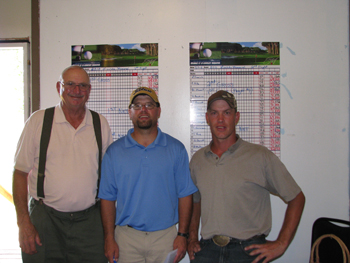 From left, Ed Leech, J.C. Watt and Brandan Stewart were winners of the three flights of the two-day Lischke Memorial golf tournament. Watt won the championship flight, Stewart won the second and Leech the third flight.