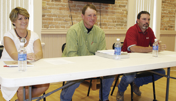 County Commission candidates, from left, Wendy Gutierrez, Pat Hughes and Shawn Bolton answered questions at a public forum July 28.