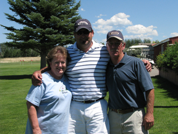 Newly crowned Meeker men's club champion Matt Fellows puts his arms around fellow champions Pattie Terp and Randy Hall. Terp won her third women's club title, while Fellows and Hall both won their first club titles.