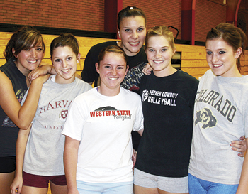 Senior members of Meeker High School's volleyball team, from left: Laura Glass, Elissa McLaughlin, Denee Chintala, Rebecca de Vergie, Sage Chapin and Shae Barrow. The Lady Cowboys open the season this weekend at a tournament in Glenwood Springs.