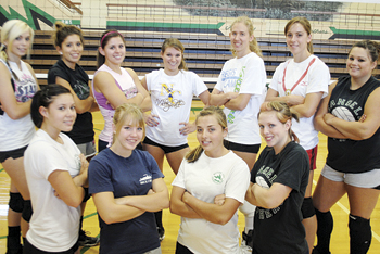 Senior members of Rangely's volleyball team, back from left: Dakota Kenney, Mikayla Schoenfeld, Rozilynn Thacker, Kelsey Harvey, Marie Morton, Victoria Phelan and Kendall Wilson. Front from left: PJ Hernandez, Rose Peterson, Torie Slagle and Tessa Briggs. The Lady Panthers will open the season at a Glenwood Springs tournament this weekend.