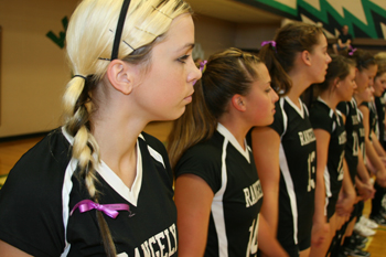 Rangely volleyball players lined up for introductions before Saturdays match against North Park. The Lady Panthers won in three games. They have only one loss so far this season.
