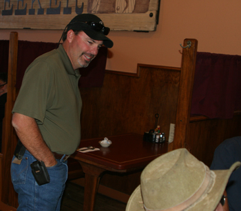Shawn Bolton visited with customers at Meeker Cafe the morning after the Aug. 10 primary election. Bolton will be sworn in as a county commissioner, replacing the retiring Joe Collins, in January.