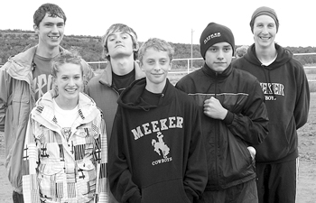 Members of the Meeker cross country team at regionals, from left, Joe McPhail, Lathrop Hughes, Willis Begaye and coach Kris Casey. Front from left, Krissie Harman and Bailey Mantle.