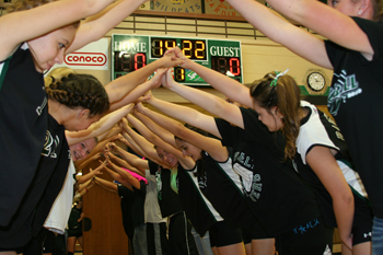 Rangely reserve players and students greeted the starters before Saturday's league volleyball win against Soroco.