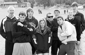 Members of the Rangely cross country team at regionals, from left, William Scoggins, Devin Williams, Justin Prosser, Rosalise Coombs, Dale Nielsen, Connor Phelan, Blake Wanstedt, Tanner Nielsen and Cameron Enterline.