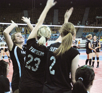 Rangely volleyball players celebrated at last weekend's state volleyball tournament at the Denver Coliseum.