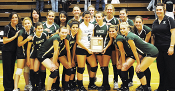 Rangely players and coaches were district champions last Saturday after winning all three of the team's matches. The Lady Panthers advance to Saturday's regional tournament at Palisade.