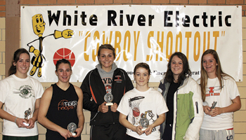 Each year, attending coaches select an all-tournament team for the White River Electric Cowboy Shootout. The 2010 WREA Cowboy Shootout all-tourney team was; Rangely's Victoria Phelan, Delanie VeDepo and Erin Koehler, of Hayden, Amelia Sunik of Grand Valley, Palisade's Olevia Schafer and Kendra Barnes. Amber Farr of Cedaredge is not pictured. Phelan was voted the tournament MVP and Sunik won the three-point contest.