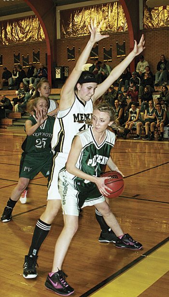 Meeker senior Becca de Vergie puts the pressure on a Plateau Valley player on the baseline. de Vergie and her team towered over the Lady Cowboys from Collbran winning 74-33. Meeker will play in Paonia Friday and host the Soroco Rams Saturday.