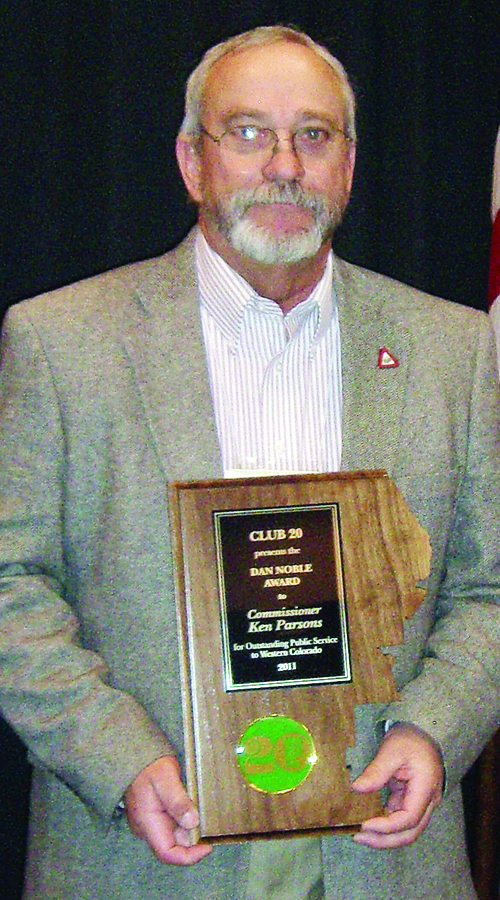 RBC commissioner Ken Parsons was honored by Club 20 with the Dan Noble award.