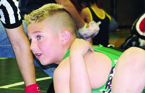 Rangelys Corbin Lucero finished second at the annual Rangely youth wrestling tournament. More than 30 young Panther wrestlers competed in the tournament and several will wrestle in Hayden this Saturday. Photo by Bobby Gutierrez
