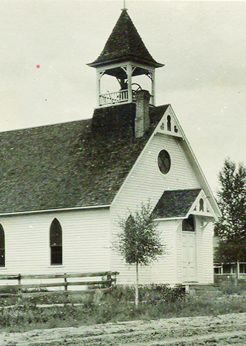 A public hearing is scheduled for May 17 to discuss temporarily moving the century-old Methodist Church to the west end of Park Street until a permanent foundation in Ute Park can be built.  Photo Courtesy of Bert Berry