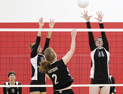 tracy enterline Rangely's only senior on the volleyball team, Haeley Enterline (2), hit a ball over a Denver Lutheran defender during a match in Glenwood Springs.  The Panthers played in Pool A, which featured larger schools; Grand Junction, Grand Junction Central, Glenwood Springs and Denver Lutheran. The lady Panthers gained experience but no wins in the four matches. Rangely will host Basalt Friday.