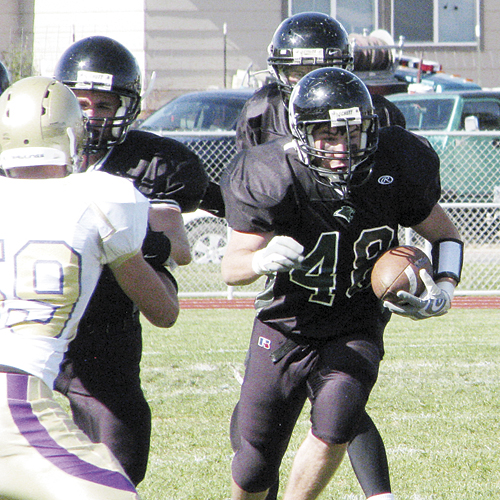 First-year Panther football coach Paul Fortunato credited the play of his defensive and offensive linemen, who played hard and opened big holes for running backs like Wesley Goddard to run through.