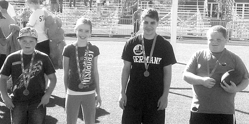 NFL Punt, Pass and Kick participants RJ Richens (2nd place: 8-9), Katelyn Brown (3rd place: 12-13), Nych DeLeon (1st place: 12-13), Tristen Rohn (1st place: 10-11). Not pictured: Sarah Connor (2nd place: 10-11).