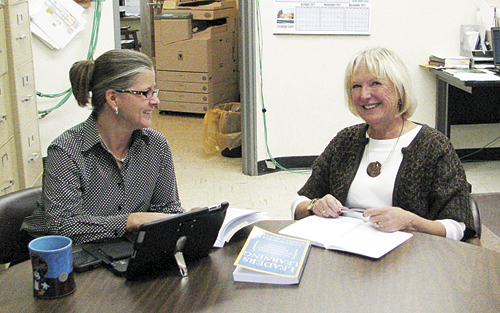 Day, pictured with Meeker school superintendent Susan Goettel, works with both school districts in the county through BOCES, where she started working when she and her husband Jim moved to Rangely in 1992.