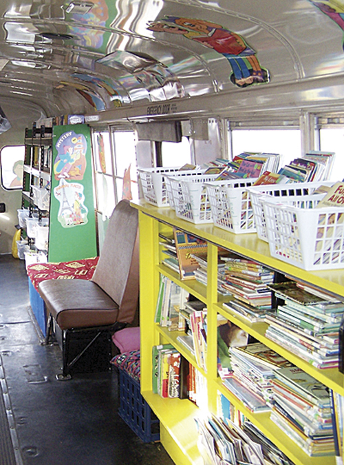 """If you are given lemons, make lemonade,"" says Meeker Elementary School librarian Kay Bivens. Bivens did just that, with her students in three different buildings, she had a retired school bus converted to a bookmobile, which can transport more than 4,000 books to its weekly rounds to the middle school, administration building and high school."