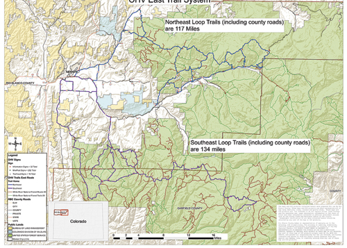 A map showing proposed trails for the Wagon Wheel OHV East Trail System will be discussed as Rio Blanco County commissioners consider a resolution to authorize the use of unlicensed off highway vehicles and snowmobiles designated RBC roads, at a Dec. 12 public hearing. The hearing will be held at the commissioners' office at the Fairfield Center at 11:15 a.m. A complete resolution is available on the county's website: www.co.rio-blanco.co.us under public announcements or at the commissioners' office.