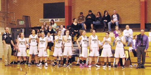 The Sangre de Cristo Thunderbirds and Lady Center Vikings traveled to Meeker last week from the San Luis Valley to play the lady Cowboys. Meeker lost to the Thunderbirds but beat the Vikings Saturday last. Assistant coach Mike Dinwiddie awaits the announcement of varsity players Sydney Hughes, Kaitlyn Dinwiddie, Deena Norell, Aly Ridings, Piper Haney, Kacey Collins, Taylor Neilson, Kathryn Doll, Kaysyn Chintala, Aubrey Walsh and head coach Greg Chintala.