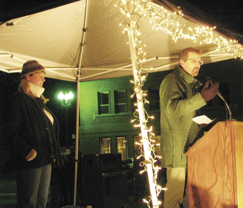 Ken Coffin, district ranger for the Blanco Ranger District announced the 2012 Capitol Christmas Tree would come from the White River National Forest at the PMC tree lighting Wednesday, Dec. 7.