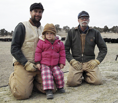 Jon Hill (right), his son Logan, and granddaughter Addy are pictured on the Rangely area ranch that has been in their family for five generations.