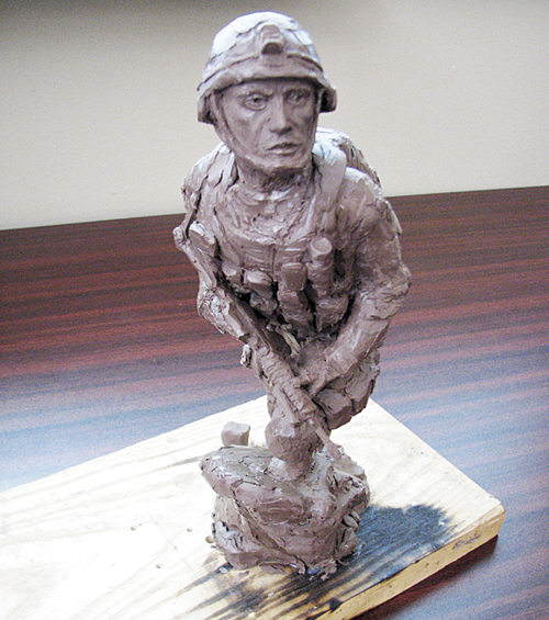 Local artist and veteran John Kobald has created a 14-inch clay maquette of a modern-day soldier which will be the model for a veteran memorial to honor the men and women of Rio Blanco County who have served in the five branches of the military.