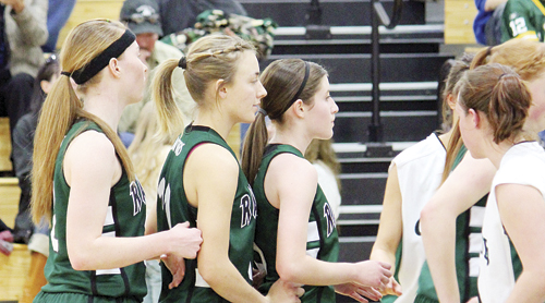 Lady Panthers Haeley Enterline, Kelsey Prosser and Aimee Hogan line up for an inbound pass during a game against the Plateau Valley Cowboys last Friday in Collbran. The lady Panthers pounded the lady Cowboys 47-13.