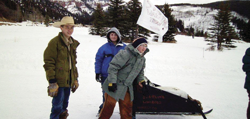 (Left to right) Troy Allred, Braxton Bishop and Brodie Nielsen participated in the Three Rivers District Klondike Derby outside of Eagle, Colo., on Sylvan Lake.
