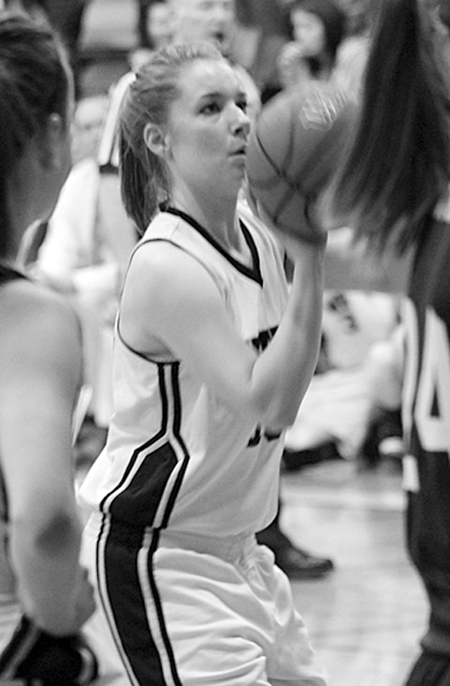Meeker senior Aubrey Walsh shoot a free throw against Rangely, in a game which Meeker won and she  finished with six points. The two Rio Blanco County teams will meet again this Friday in the first round of the district tournament.