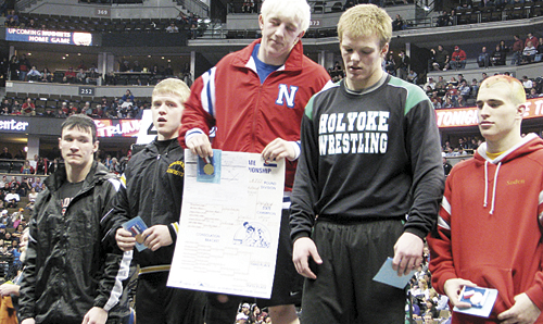 Meeker senior Justin Hardy pinned four opponents and won 13-0 in the consolation championship match of the 2A 170-pound bracket last weekend in the Pepsi Center in downtown Denver, ending his high school wrestling career with a bronze medal.