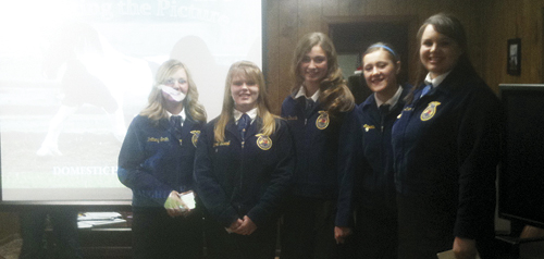 "Meeker High School FFA students presented ""Should the USDA be provided funding to oversee domestic horse slaughter in the United States?"" at the RBC Fair board meeting, Thursday, March 22, 2012. (Left to right) Brittany Smith, Torrie Gerloff, Katie Dinwiddie, Tristan Nielsen, and Kaylynn Dunham."