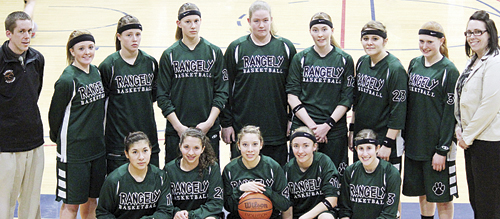 The Rangely girls' basketball team ended their successful season in the regional tournament last weekend in Denver at Metro State College. Playing for the lady Panthers this season were Aimee Hernandez, Tessa Slagle, Leslie Hernandez, Kelsey Prosser and Aimee Hogan.  (Back row) assistant coach Quinton Kent, Shelby Nieberger, Brittany Babineaux, Quincey Thacker, Holly Lepro, Haeley Enterline, Hailee Russell, Chelsea Ficken and head coach Jimmie Mergleman.