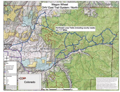Rio Blanco County was awarded a grant for more than $100,000, from the the Colorado Parks and Wildlife Division (CPW) Trails program for the Wagon Wheel Trail, an off-highway vehicle trail system. More than 250 miles of OHV trails have been mapped and some of the grant money will be used for signage, which will include the logo of the newly formed Wagon Wheel OHV Club.