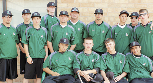 RHS varsity team (back row, left to right) Coach Torsell, Lucas Heinle, Kelton Elam, Cameron Enterline, Toby Gasper, coach Denny, coach Fortunato, David Contreras, James Rogers and Ethan Peacock. (Seated, left to right) Gabe Garcia, Bryson Palacios, Kody Denny and Chas Byerly.