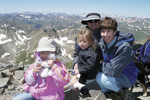 The Ward family enjoys their ascent of Handies Peak, our first family 14er, in August 2008.