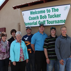 jim cook Jo Tucker's daughters, Bobbie Jo and Shelly, organizers of the fifth and final Bob Tucker Memorial Golf tournament. , played to raise money for an annual scholarship in the late coach's name, were pictured with past scholarship winners Kurtis Dunbar, Clinton Kilduff, Tyler Howey and Ryan Wix. Chas Mills, the first Bob Tucker scholarship winner was unable to return and play in the touranment.