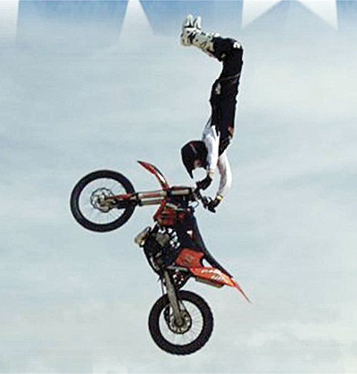 Four members of the Mobile FMX Freestyle Motorcycle show, all Colorado hometown boys, will be in Meeker July 4, 2012 for a heart-stopping show at the Rio Blanco County fairgrounds starting at 4 p.m. Riders will be available after the show to sign autographs and meet local fans.